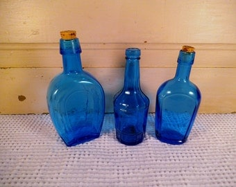 Set of Three Wheaton Blue Bottles, Blue Horse Bottle, Instant Collection Vintage Blue Bottles