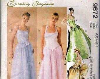 "1998 McCall's 9672 Evening Elegance Dress Sewing Pattern Size AX 4, 6, 8 Bust 29 1/2"", 30 1/2"", 31 1/2"""