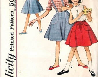 Vintage 1959 Simplicity 4961 Girl's Blouse & Wrap Around Skirt Sewing Pattern Size 8 Breast 26""