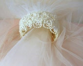 vintage 1950's bridal juliette cap with lace and pearls and knee length beaded veil with elbow length blusher