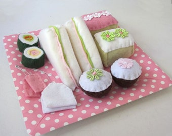 Felt Food, Pretend Play Food, Pink and Mint, Felt Food Picnic, Gift for Girls, Kitchen Toys