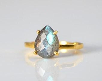 Blue Labradorite Ring - Gemstone Ring - Stacking Ring - Gold Ring - Tear drop Ring - Prong set ring - Birthstone ring - mothers Day gift