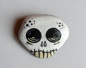 Painted Sea Stone - Mr. Lawrence Skully - Halloween Favor - Halloween Home Decor - Baltic Sea Stone - OOAK