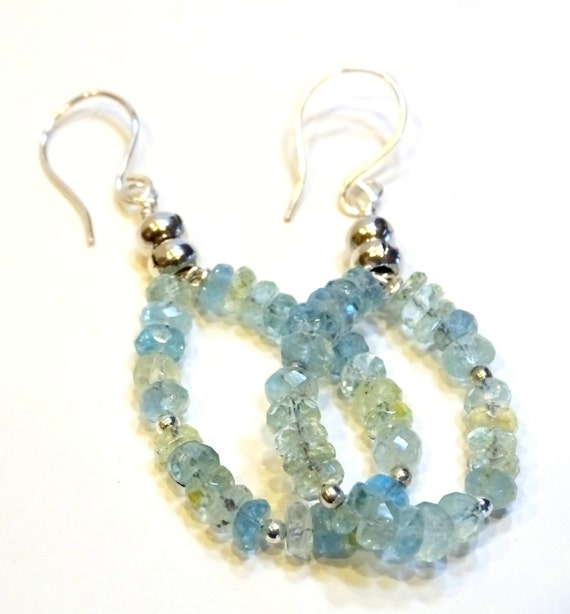 Aquamarine Gemstone Earrings: OOAK Natural AA Aquamarine Gemstone Hoop Earrings By