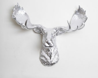 Silver Moose Head - The Barnaby - Silver Resin Moose Head- Faux Silver Animal Metal Wall Art & Sculptures by White Faux Taxidermy