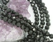 Lot of 5 strands 8mm Jet Black Chinese Glass Round Loose Spacer Beads 72 beads/strand (BH5267)