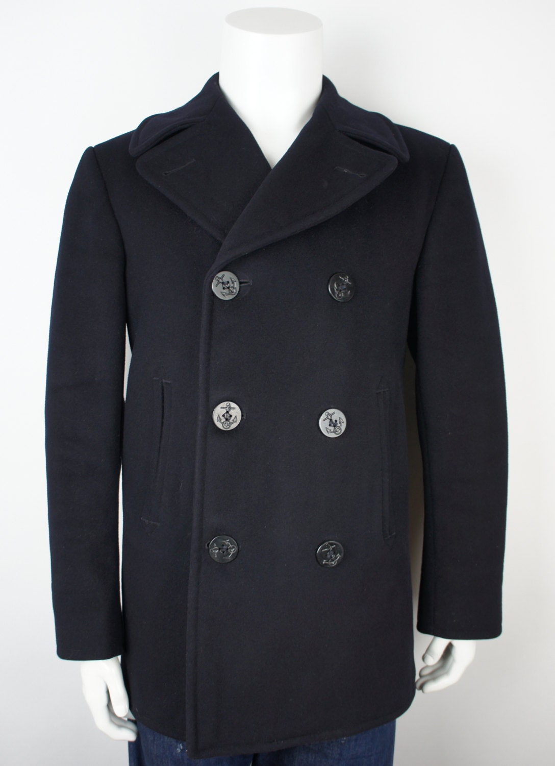 Vintage Authentic Usn Navy Pea Coat Size 36r By