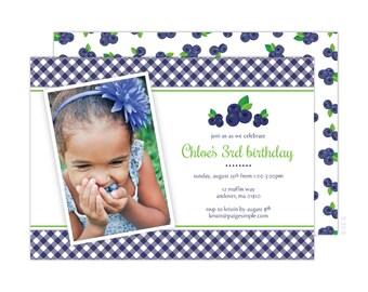 Blueberry Birthday Party Photo Invitation (Blueberry Party, Blueberry Baby Shower, Blueberry Invitation)