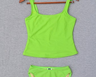 90s Tankini, Neon Green, Anne Cole, High waisted, Size 10
