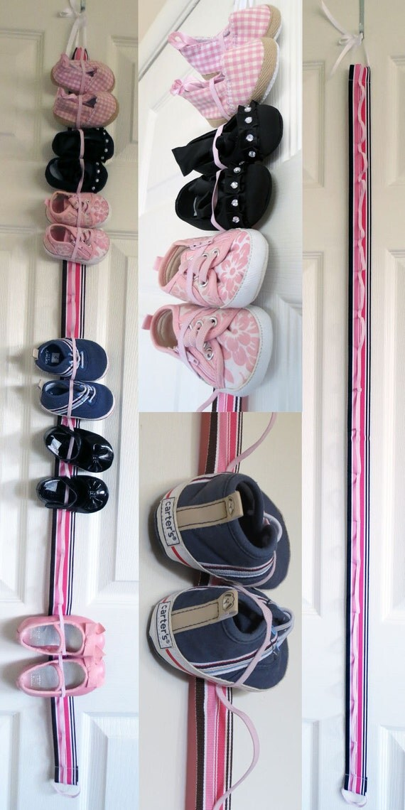 Hanging baby shoe organizer with elastic store 9 pairs of - Baby shoe organizer ideas ...