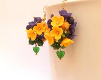 Flower Earrings, Statement Earrings, Romantic Earrings, Spring Jewelry, Yellow Earrings, Violet Earrings, Colourful Jewelry, Gift For Her