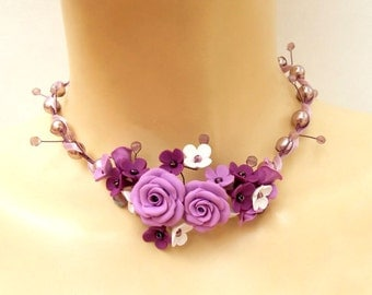 Purple Statement Necklace, Statement Necklace, Flower Statement Necklace, Purple Necklace For Women, Pearl Necklace, Wedding Jewelry, Floral