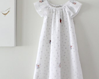 Baby Girls Dress-White Embroidered Organdy with Grey Spot Underlay-Special Occasion-Party Wear-Retro Dress-Children Clothing by Chasing Mini