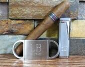 Cigar Lighter w Cigar Cutter Set - Personalized- Cigar Set - Mens Gift- Groomsmen, Fathers Day