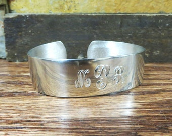 """Personalized 3/4"""" Pewter Cuff Bracelet- Womens Gift- Bridesmaid Gift"""