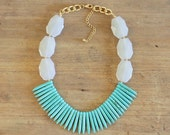 Turquoise Spike Statement Necklace with Chunky White Beads, Turquoise Statement Necklace