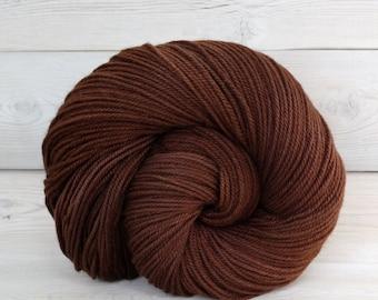 Zeta - Hand Dyed Polwarth Wool and Silk DK Sport Yarn - Colorway: Rootbeer
