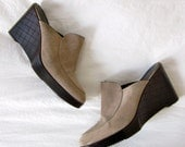 Unparalleled Heights 1970s Suede Robert Clergerie Loafer Platform Clogs 8 38
