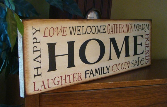 HOME Typography Wooden Primitive Sign