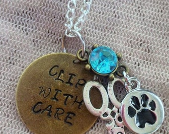 Pet Groomers Hand Stamped Scissor and Paw Print Charm Necklace Dog Cat Groomer