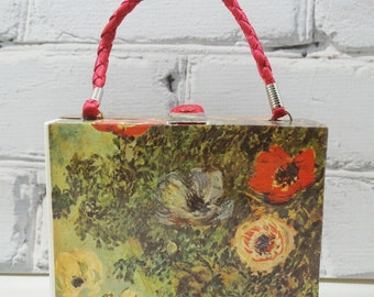 Monet Purse. Impressionist Clutch.One of a Kind Decoupage Handbag. Floral Stills of Sunflowers and Anemones. Portable Art for Your Wardrobe.