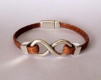 Leather bracelet. Mens Infinity symbol bracelet leather. Leather bracelet for men, for women. Mens leather. Leather bracelet for women.
