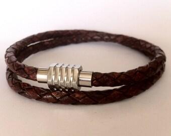 Mens leather bracelet, Bracelet braided leather,  steel bracelet, magnetic clasp, Wrap bracelet, husband gift
