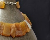 Natural Amber Necklace with Sterling Silver Modern Jewel Contemporary Amber Jewelry
