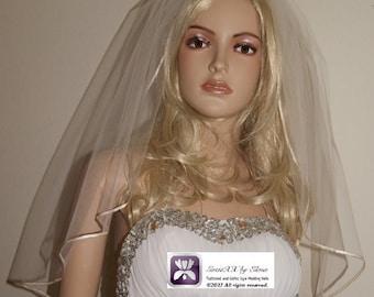 "Wedding Veil Elbow length Ivory White  Beige  Pink Black Single Tier 28"" Length Gold Silver edge"