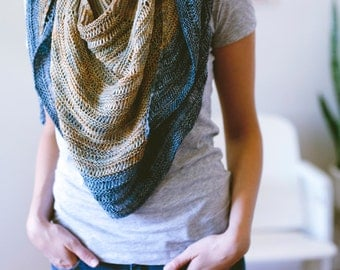 Laylow Shawl Knitting Pattern Modern Reversible Crescent Textured PDF