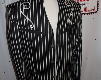 Men's custom butcher stripe western jacket - Size 38