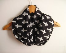Cross Scarf , Black and White Cross Printed İnfinity Scarf , Printed Chiffon Scarf