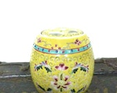 Vintage Chinese Ginger Jar - Medium Decorative China Pot - Yellow, Blue & Pink Hand Painted Pot and lid