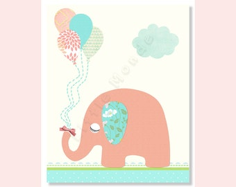 Baby Girl Nursery Prints, Nursery Art, Nursery Wall Decor, Pastel, Elephant Nursery Prints, Coral Aqua Nursery, French Nursery, Turquoise