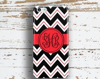 Teens iPhone 8 case, Chevron Iphone 6 Plus case, Red iPhone 5 case, Monogram iphone 8 case, Winter fashion accessory, Black white (9954)