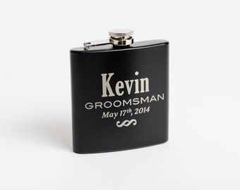 Gift for Him, Personalized Mens Flask, Engraved Groomsmen, Best Man, Wedding Party, Bridal Shower, Gift, Hip, Whiskey Flask, Etched