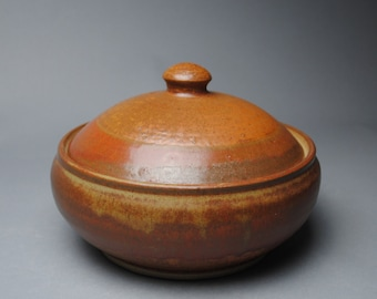 Clay Lidded Casserole Baking Dish Red Orange A50