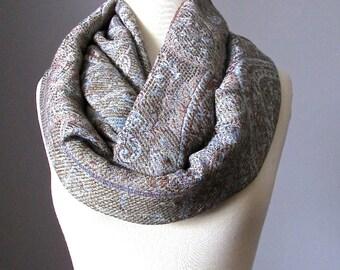 Pashmina, Grey scarf, chunky scarf, infinity scarf, paisley scarf