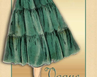 Vogue 8158 1950s Romantic Skirt Pattern Vintage Styled with Full Triple Tiers