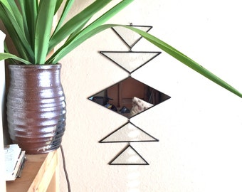 Totem Mirror - wall hanging mirror - geometric wall hanging with mirror