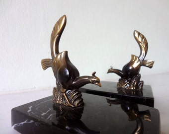 French Art Deco Pair Marble and Spelter Bookends - Pair Birds - Very Good Condition - Stylish - Library Decor