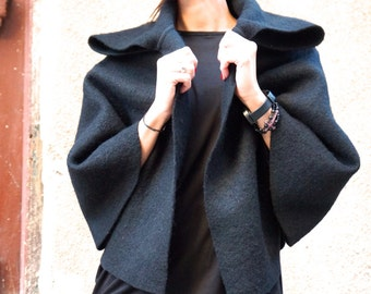 NEW Autumn / Winter  Wool Black Bolero / Extravagant Jacket / Wool Blend Coat  by Aakasha A01150