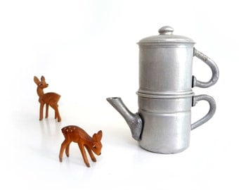 Vintage aluminum coffee maker toy - Neapolitan flip coffee pot miniature - Mid Century collectibles - 1950s - made in Italy