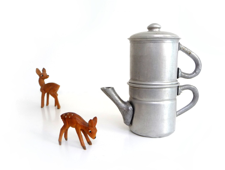 Neapolitan Flip Coffee Pot ~ Vintage aluminum coffee maker toy neapolitan flip by