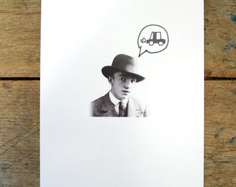 Postcard man with hat and car, gangster, pictogram, bubble, talking, drawing, old photo, assembly, portrait, young man