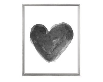 Black and White Art, Heart Watercolor Print from Original Painting, Charcoal Art Grey Art, Gray Decor, Black Heart Painting, Black Wall Art
