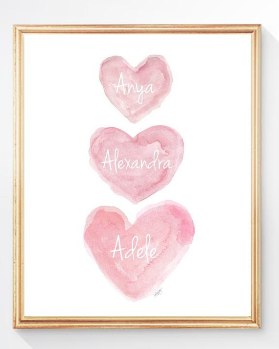 Three Sisters Wall Art with Names, 8x10 Pink