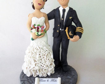 Wedding Cake Toppers Bride and Groom * Custom made using your Photos and Ideas *Completely Handmade from Polymer Clay