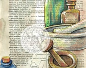 PRINT:  Pharmacist Mixed Media Drawing on Antique Dictionary