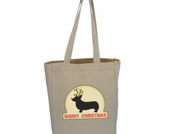 Corgi Tote Bag with Merry Christmas Corgi Dog Rudolph or Santa design